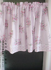French Country Cottage Shabby Chic Floral Pink Kitchen Cafe Curtain Tier Valance