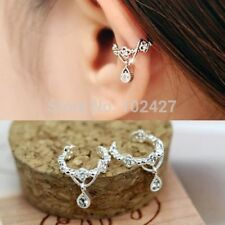 UK STOCK New White Gold Plated  Crystal Diamonte Punk Ear Cuff Earring Clip On