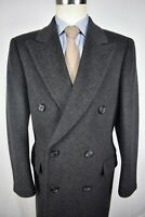 Maitland Of England Dark Gray Wool/Cashmere Blend Double Breasted Overcoat Sz 40
