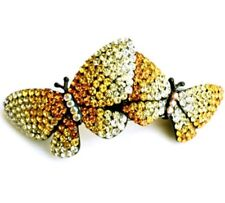 Large jeweled twin butterfly barrette made with Swarovski crystals