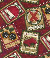 Debbie Mumm maroon seed packets garden SSI fabric