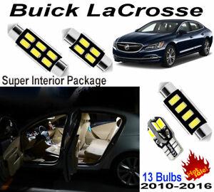 13pcs Xenon White Car LED Interior Light Kit Lamps For Buick LaCrosse 2010-2016