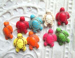9 Schildkröten Anhänger Charm Perlen Schmuck basteln 18x7 mm synth. Howlith neu