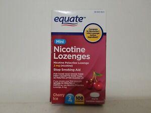 Equate Nicotine STOP smoking aid 2 mg 108 mini Lozenges cherry 02/2022 SEALED