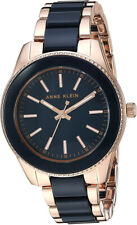 Anne Klein Women's Quartz Rose Gold Tone/Navy Blue Resin Watch AK/3214NVRG