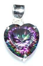 Sterling SILVER FIRE Mystic Quartz Pendant, Heart Shaped Gemstone 925 Jewellery