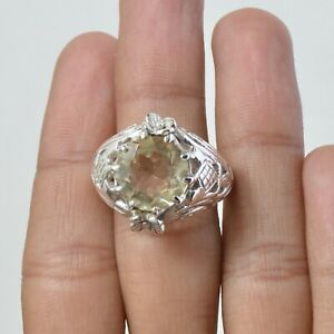 Citrine Gemstone Jewelry Silver Solitaire Ring Size 10 For Women KB08133