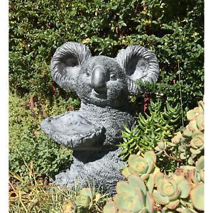 Statue Koala Holding Tray Sculpture Australiana Figurine Feature Garden Décor