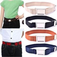 Elastic Solid Color Canvas Belts Boys Girls Elastic Belt Adjustable for Kidh3JC