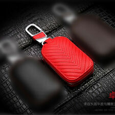 Red Cowhide Car Universal Key Holder Key Chain Ring Purse Remote Case Bag Gift
