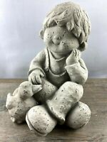 Dekoration*Figur*Skulptur*Statue*Magnesia*Junge*Ente*Garten*Deko
