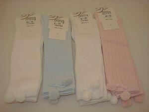 BABY POM POM KNEE HIG SOCKS PINK WHITE IVORY PALE BLUE 0-2.5 3.5.5 6-8.5