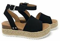 Soda Clip Tan Cognac Casual Espadrilles Trim Flatform Wedge Sandals