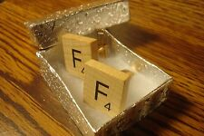 """ F "" Scrabble Tile Monogram Letter Initial Cufflinks 1 Pair (Two) Gold Plate"