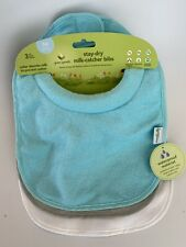 Green Sprouts Aqua/Gray/White Stay-dry Milk Catcher Bibs Absorbent Collar 3pk