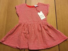 BOOTS Mini Club Baby Girls Dress, Red & White Spots, Age 9-12 Months - NEW BNWT