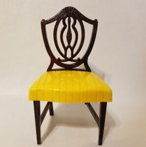 Vintage Ideal Dollhouse Miniature Yellow Plastic Faux Wood Dining Chair I-2046-6