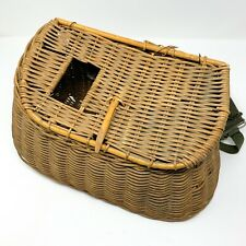 Antique Vintage Fly Fishing Creel Basket Wicker Trout lure bait fish casting