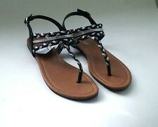 American Eagle Women Gladiator Sandal Black Silver Flat Y strap Thong sz 6.5