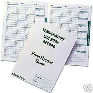Temperature Log Book Record Food Hygiene Guide Catering Fridge Freezer