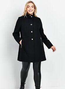 Evans Womens Black Crepe Funnel Coat Warm Winter Jacket Outwear Top Body Warmer