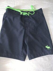 Boys Abercrombie Swim Trunks Large Blue/Lime Green