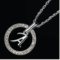 Collier LETTRE Initiale ROND Strass AVON NEUF au choix