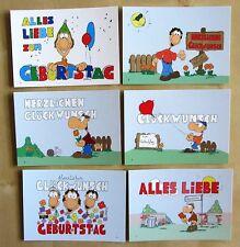 6x Geburtstagskarte GEBURTSTAGSKARTEN Karrich Karikatur Postkarten Ungelaufen