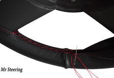 Per FORD PUMA neri in pelle Volante Copertura rosso cuciture