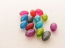 10 x acrylic rounded oval 20x13mm ~ TRANSLUCENT GLITTER ENCASED  COLOUR CHOICE