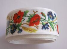 Grosgrain Ribbon - 25mm wide & 1 yard length.  WHITE with ROSES  ***NEW***