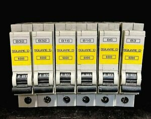 SQUARE D QOE TYPE B 6KA MCB 50A, 40A, 32A, 20A, 16A, 10A, 6A, 3A.   BSEN60898