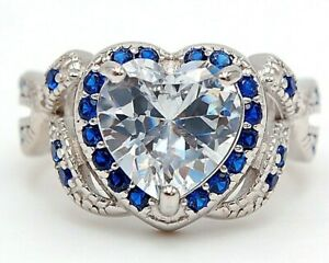 Flawless 4CT Blue Sapphire & Topaz 925 Sterling Silver Ring Jewelry Sz 6, UC13