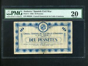 Andorra:P-4,10 Pessetes,1936 * Arms * Rare * Low #  286 * PMG VF 20 *