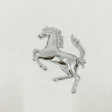 FERRARI EMBLEM Metal Chrome Silver Horse Rear Trunk Fender Badge Sticker