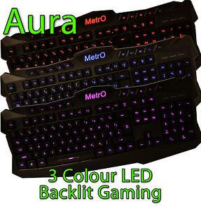 Metro Aura UK USB Wired Gaming Style Keyboard - Does Not Illuminate