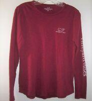 Vineyard Vines Women XS Long Sleeve T-Shirt Whale Logo On Back Burgundy/Wine Tee