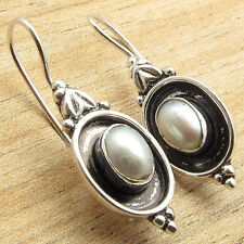 Vintage Fashion Accessories ! 925 Sterling Silver Overlay PEARL Earrings 1.1""