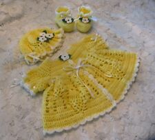 "CROCHET PATTERN for ""Ashleigh"" Baby Sweater Set by REBECCA LEIGH-NB/3mos & 6/12M"