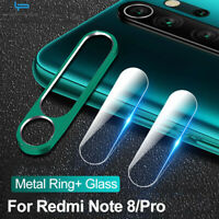 For Xiaomi Redmi Note 8 Pro Tempered Glass & Metal Camera Lens Protector Ring DE