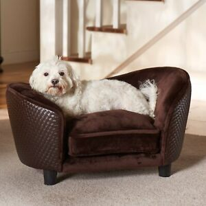 Pet Plush Wood Sofa Bed Dog Luxury Seat Chair Cat Brown Removable Cover Washable