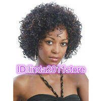 Ladies Women's fashion short Black Mixed Brown Curly Natural Hair Wigs + wig cap