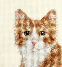 GINGER & WHITE CAT, KITTEN ~ Full counted cross stitch kit + All materials *FIDO