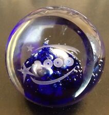 CMOG Corning Museum Of Glass Signed 2000 Clear & Cobalt Blue Bubble Paperweight