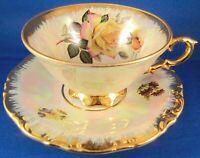 Waldershof Bavaria Iridescent Teacup and Saucer - Yellow Roses - Vintage Germany
