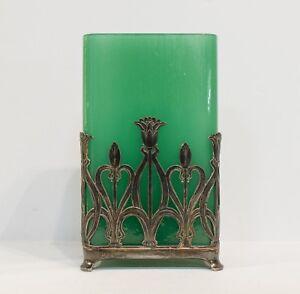 Art Nouveau Sterling Silver & Emerald Green Glass Vase
