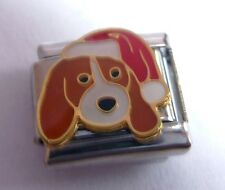 DOG SANTA HAT Italian Charm - HAPPY CHRISTMAS PUPPY N193 9mm Classic Size Xmas