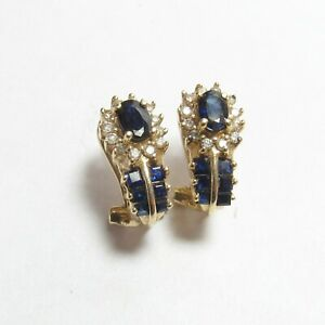 Estate 14K Yellow Gold Natural Sapphire Diamond French Clip Earrings 1.80 Cts
