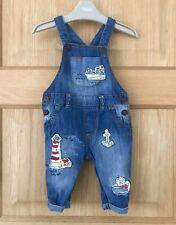 NEXT *3-6m BABY BOYS Blue Denim  Dungaree Appliqué Nautical 3-6 MONTHS