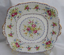 ROYAL ALBERT PETIT POINT CAKE PLATE HANDLES SQUARE ROSES ENGLAND BONE CHINA